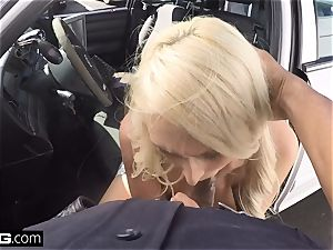 Caught on CCTV! wifey gargles off cop to get husband off