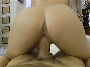 Rocco Siffredi cock inserting a pretty brown-haired