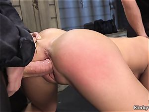 blondie gimp takes enormous dick in smoothly-shaven vulva