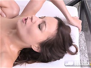 Roxy Dee exhilarated with a massager yells quitely