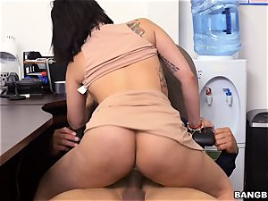 Latina getting wedged over her desk