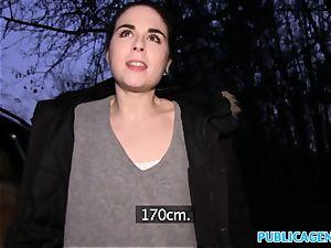 Public Agent Spanish student pokes for soiree cash