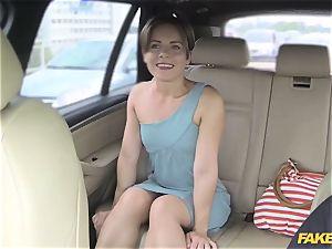 fake taxi passenger rides her biggest pink cigar