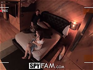 SPYFAM nosey Step sis spits over penis pics