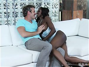 chesty black stunner Diamond Jackson is a perv in couch