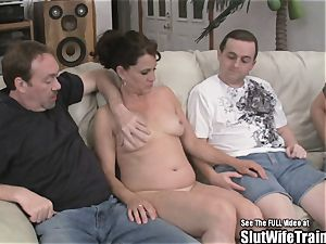 insatiable tramp wife three-way gulp screw party For hubby