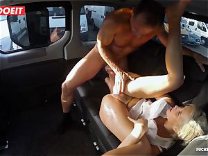 ash-blonde sweetie dumps all over the backseat of a van