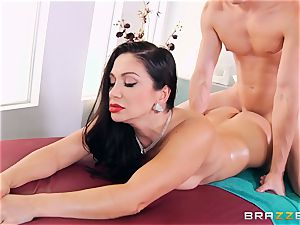black-haired gets more than a massage