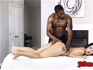 Katrina Jade banged by big black cock after massage