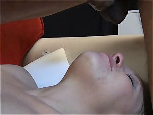 small platinum-blonde cuckold demonstrates her oral job and gargle