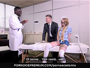 pornography ACADEMIE - rectal threesome with light-haired college girl