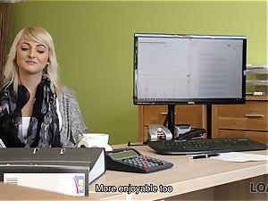 LOAN4K. Blonde-haired miss gets sissy pounded rock hard in loan porn flick