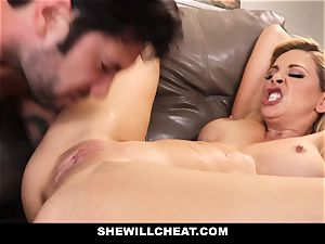 SheWillCheat cuckold wifey Gags on pipe