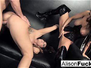 3-way hard-core energetic orgy with Alison