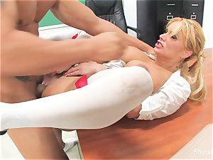 Bad schoolgirl Shyla gets humped by her professor