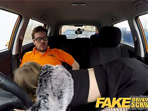 fake Driving school puny learner with diminutive boobies