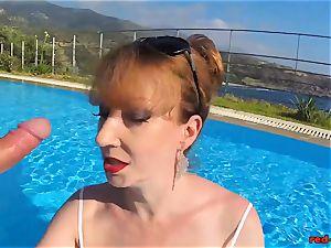british Mature crimson gonzo gargling sausage in a pool