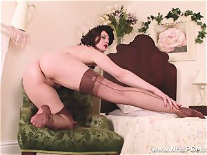 super-fucking-hot cougar fake penises fucktoy to climax in stockings suspenders