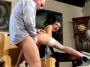 stunning maid Naomi nailing in tights and stilettos