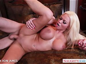 bawdy blond Nikita Von James rail a ginormous fuck-stick