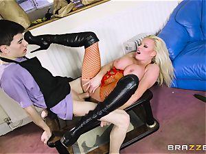 nasty blonde Michelle Thorne slobbering on my hefty pink cigar