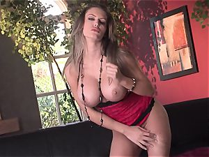 Jenna Presley takes it off slowly to showcase off her enormous hooters and smoking body